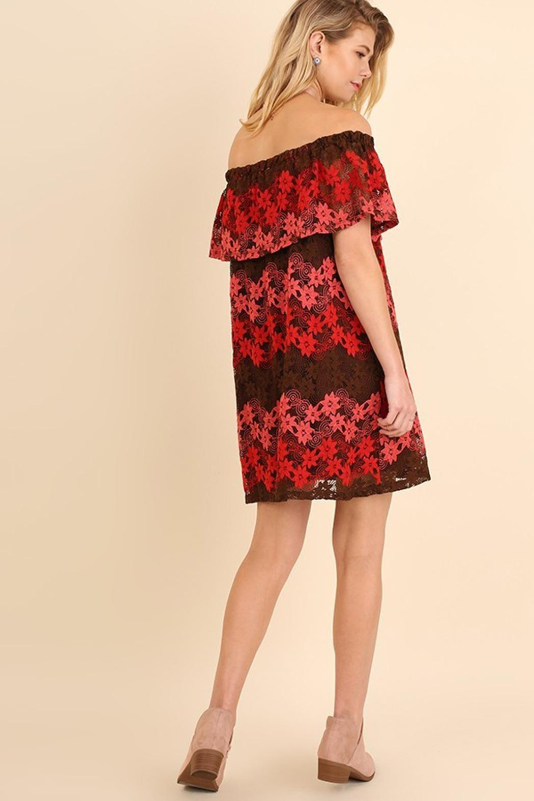 easel Ombre Red/pink Lacedress - Front Full Image