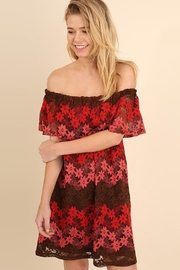 easel Ombre Red/pink Lacedress - Front cropped