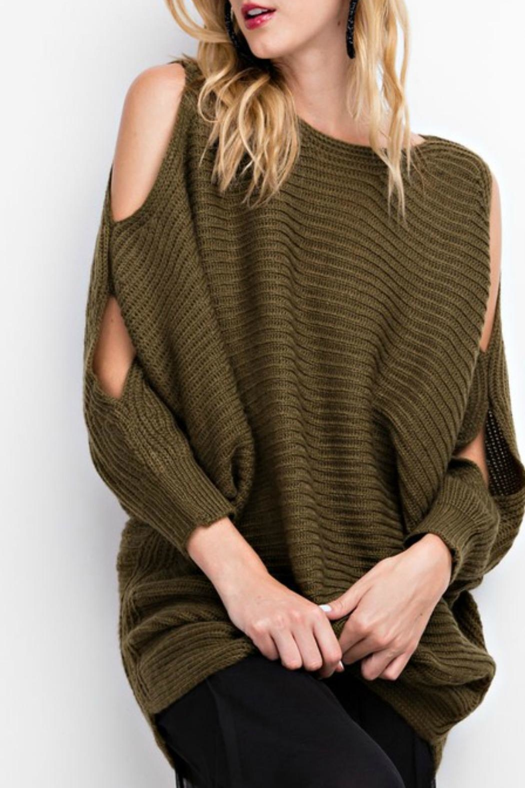 easel Oversized Cold-Shoulder Sweater from Connecticut by Deja Vu ...