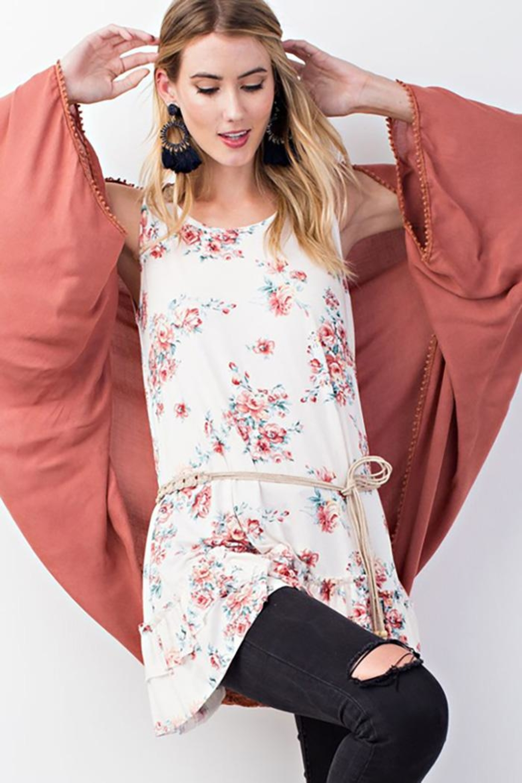 easel Oversized Drapey Cardigan - Front Cropped Image