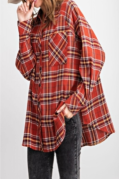 easel Plaid Button-Down Top - Product List Image