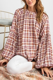 easel Plaid Button-Down Top - Front cropped