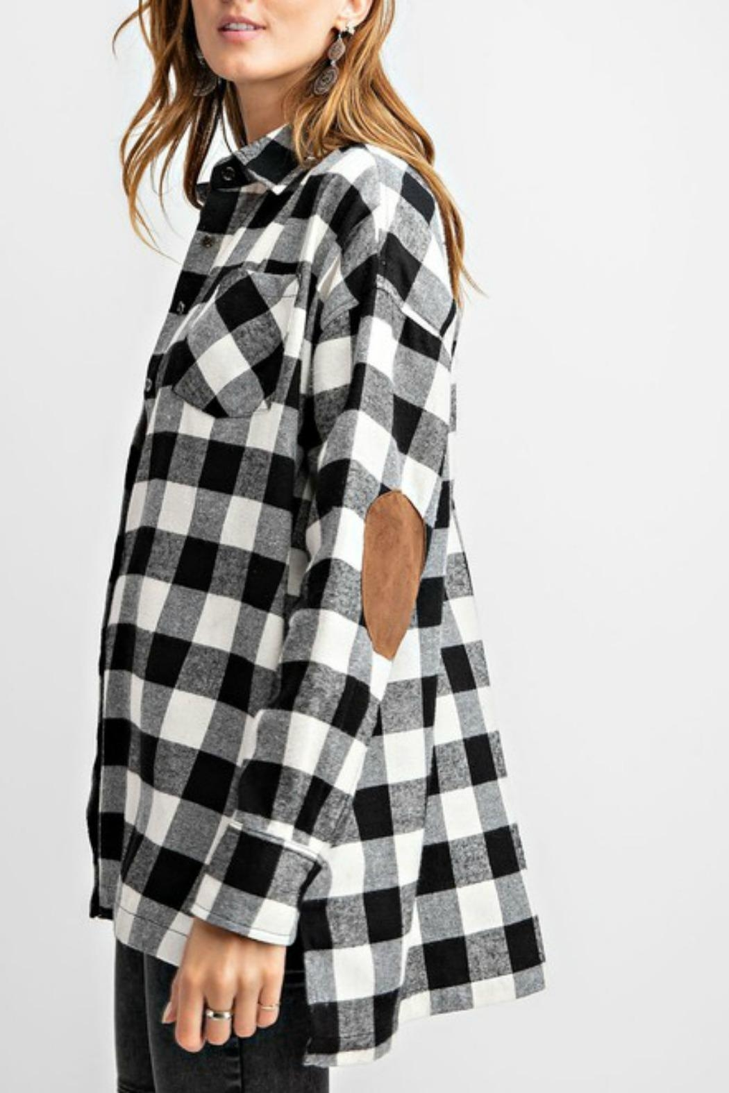 easel Plaid Flannel Top - Front Full Image