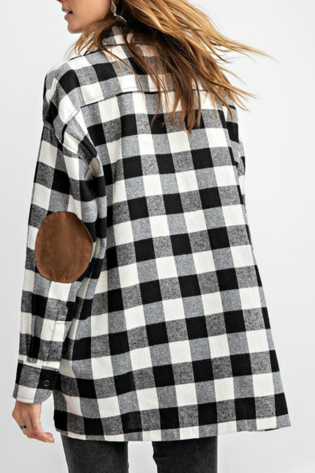 easel Plaid Flannel Top - Back Cropped Image