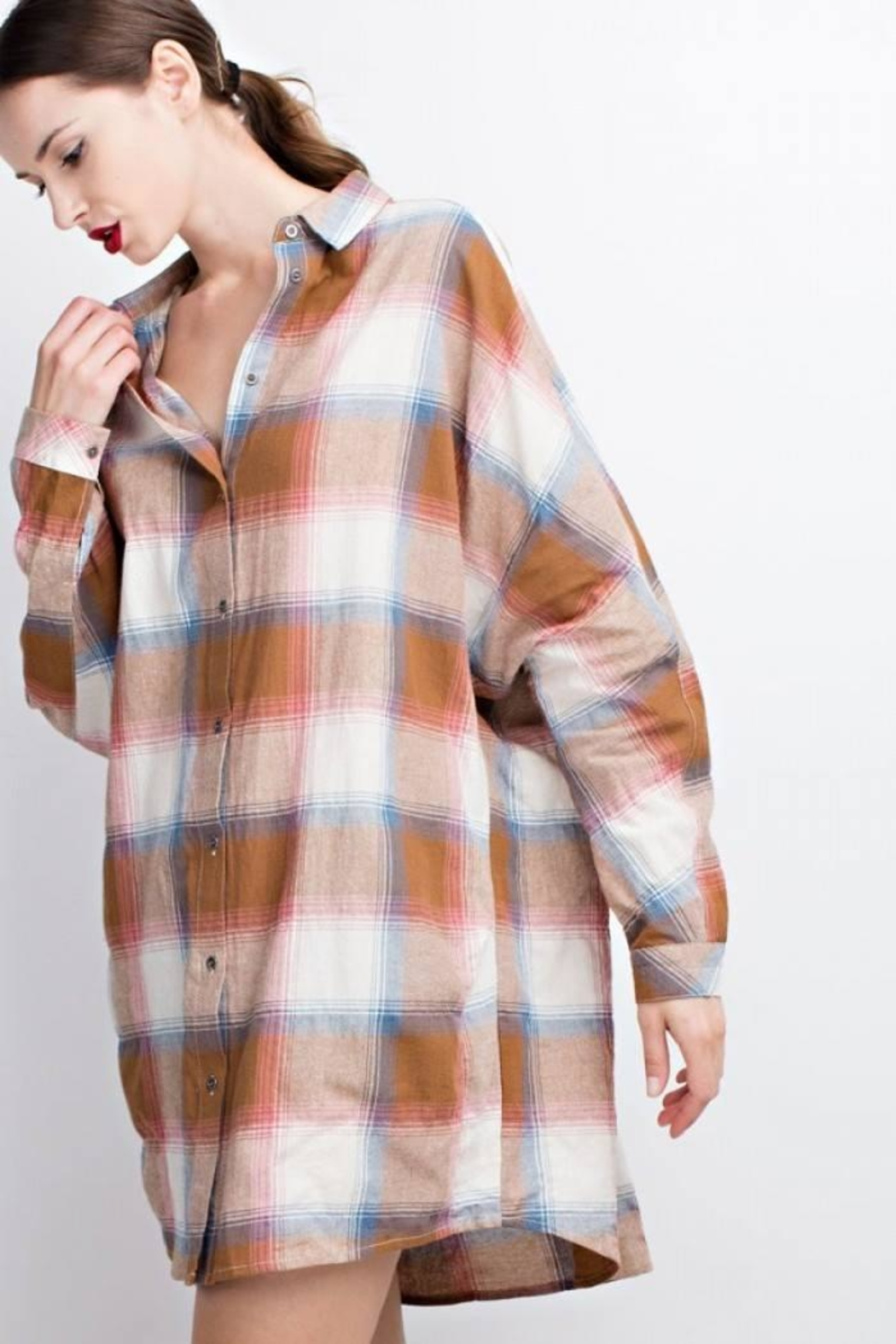 easel Plaid Long Sleeve - Back Cropped Image