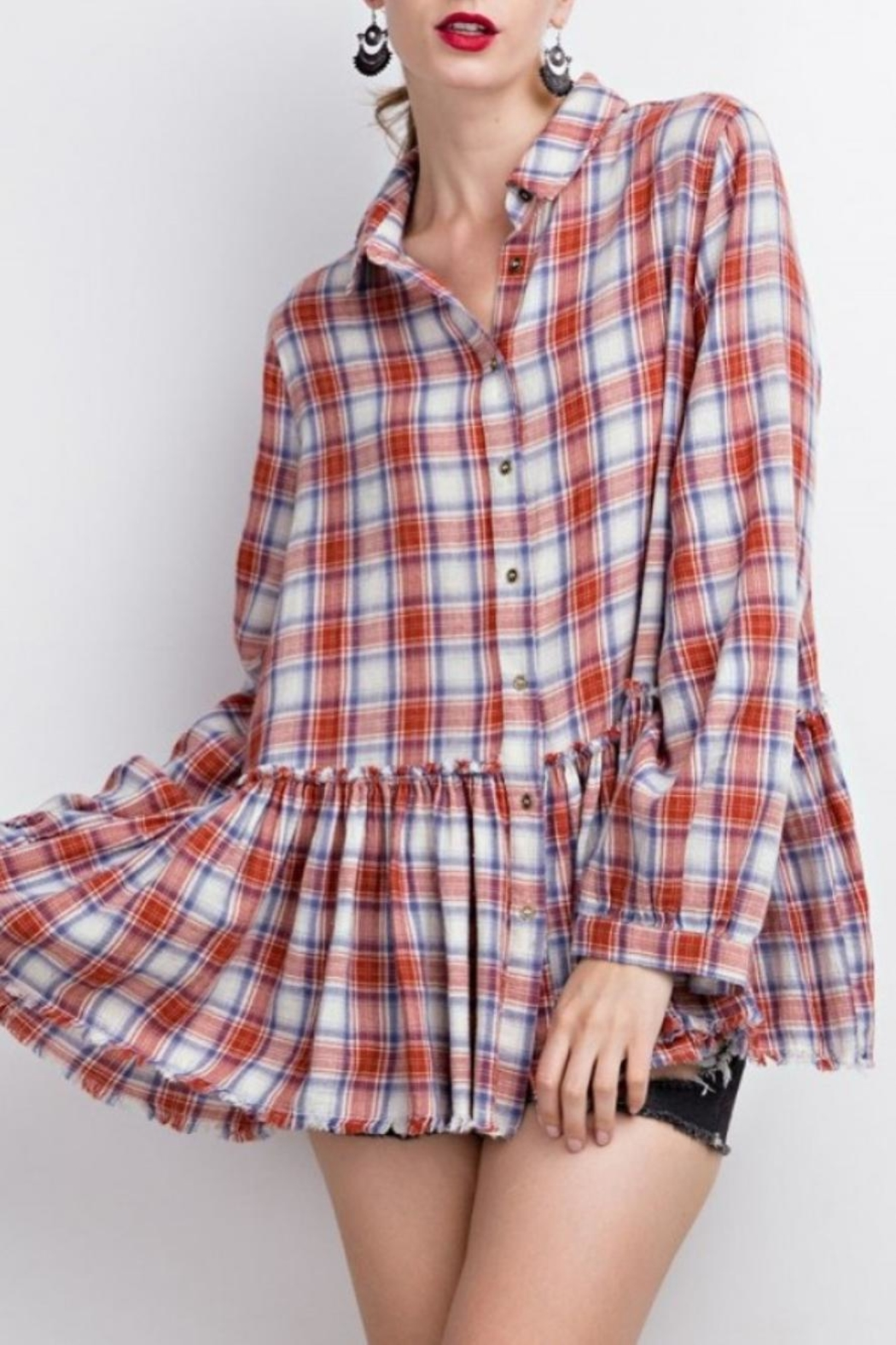 easel Plaid Ruffle Tunic - Main Image