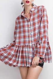 easel Plaid Ruffle Tunic - Front cropped