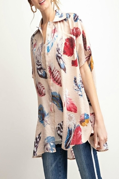 easel Printed Feather Button-Down - Alternate List Image