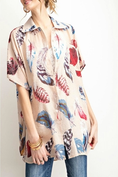 easel Printed Feather Button-Down - Product List Image