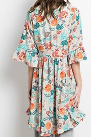 easel Printed-Kimono Lace-Up Cardigan - Side cropped