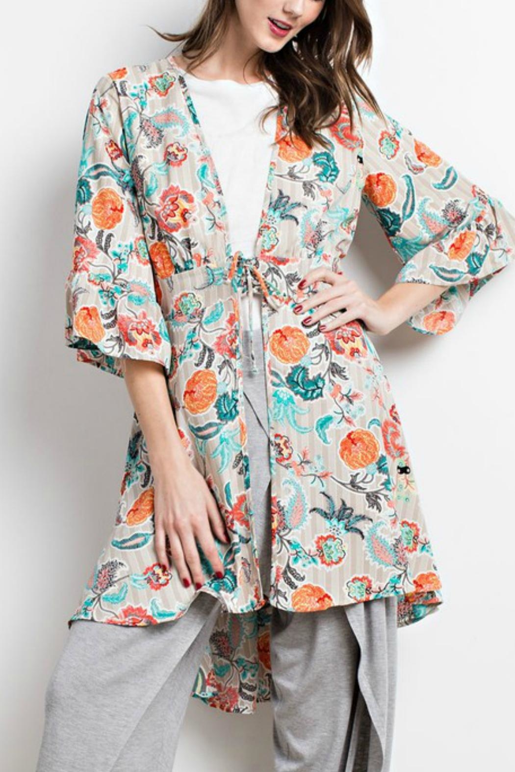 easel Printed-Kimono Lace-Up Cardigan - Front Full Image