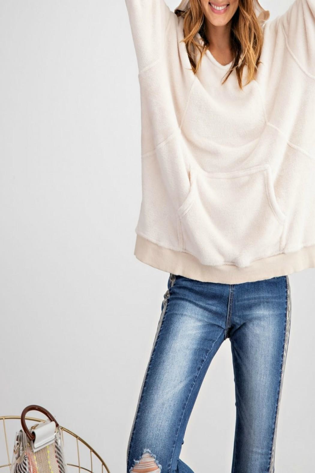 easel Pullover Hoodie Tunic - Back Cropped Image