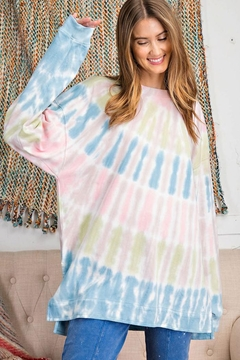 easel Retro Tie Dye French Terry Long Sleeves Pullover Sweatshirt Tunic Top - Product List Image