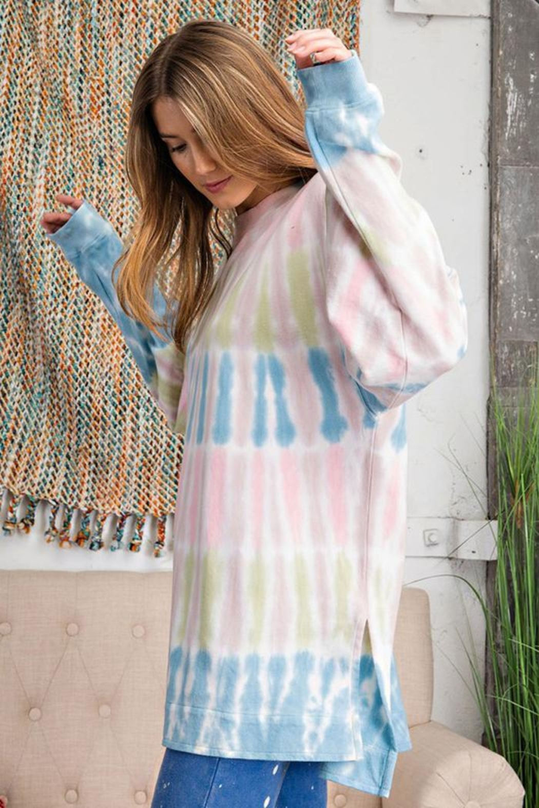 easel Retro Tie Dye French Terry Long Sleeves Pullover Sweatshirt Tunic Top - Side Cropped Image