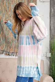 easel Retro Tie Dye French Terry Long Sleeves Pullover Sweatshirt Tunic Top - Side cropped