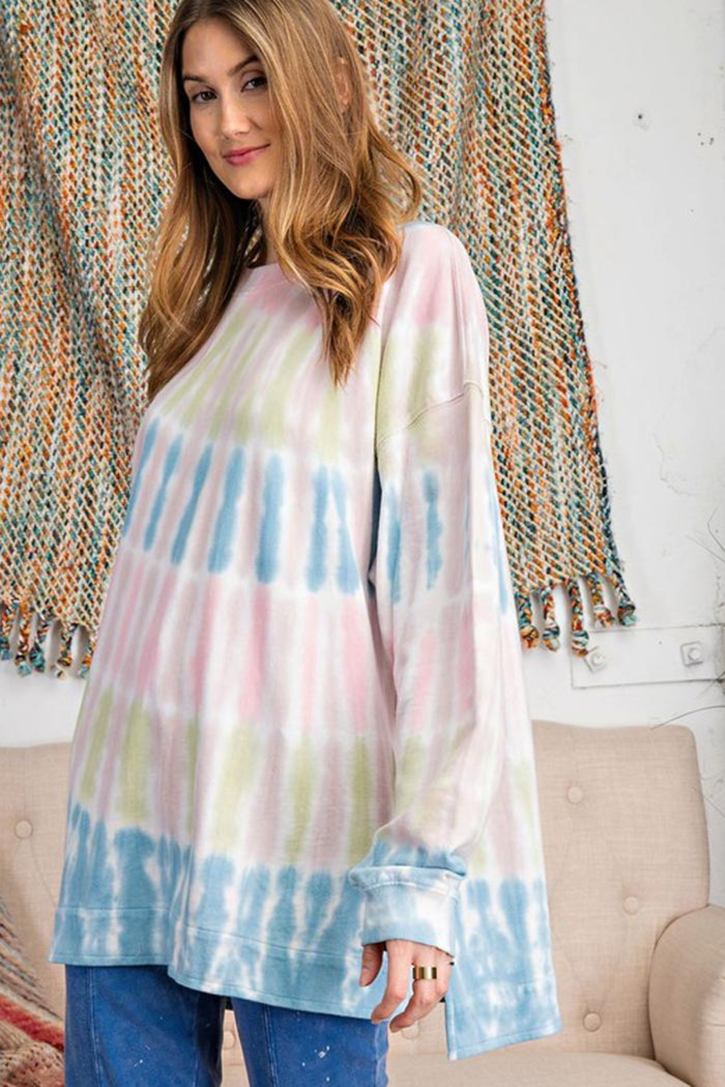 easel Retro Tie Dye French Terry Long Sleeves Pullover Sweatshirt Tunic Top - Front Full Image
