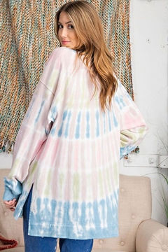 easel Retro Tie Dye French Terry Long Sleeves Pullover Sweatshirt Tunic Top - Alternate List Image