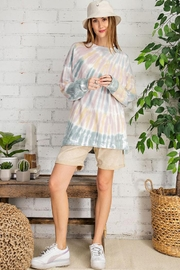 easel Retro Tie Dye French Terry Long Sleeves Pullover Sweatshirt Tunic Top - Other