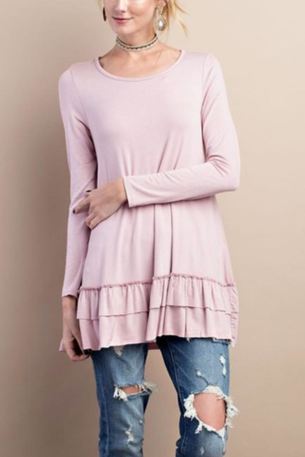 easel Ruffled Long-Sleeved Top - Front Cropped Image