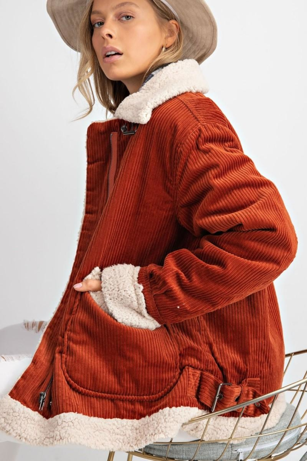 easel Rust Corduroy Sherpa - Back Cropped Image
