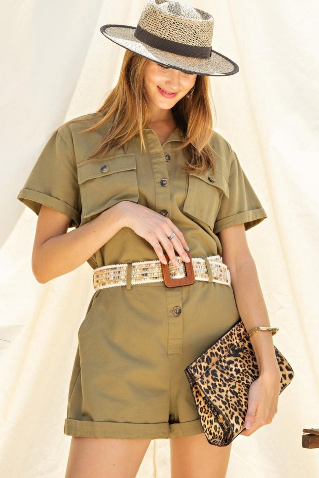 easel Safari Utility Military Cotton Romper Jumpsuit - Side Cropped Image
