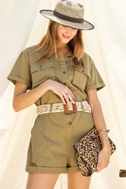 easel Safari Utility Military Cotton Romper Jumpsuit - Side cropped