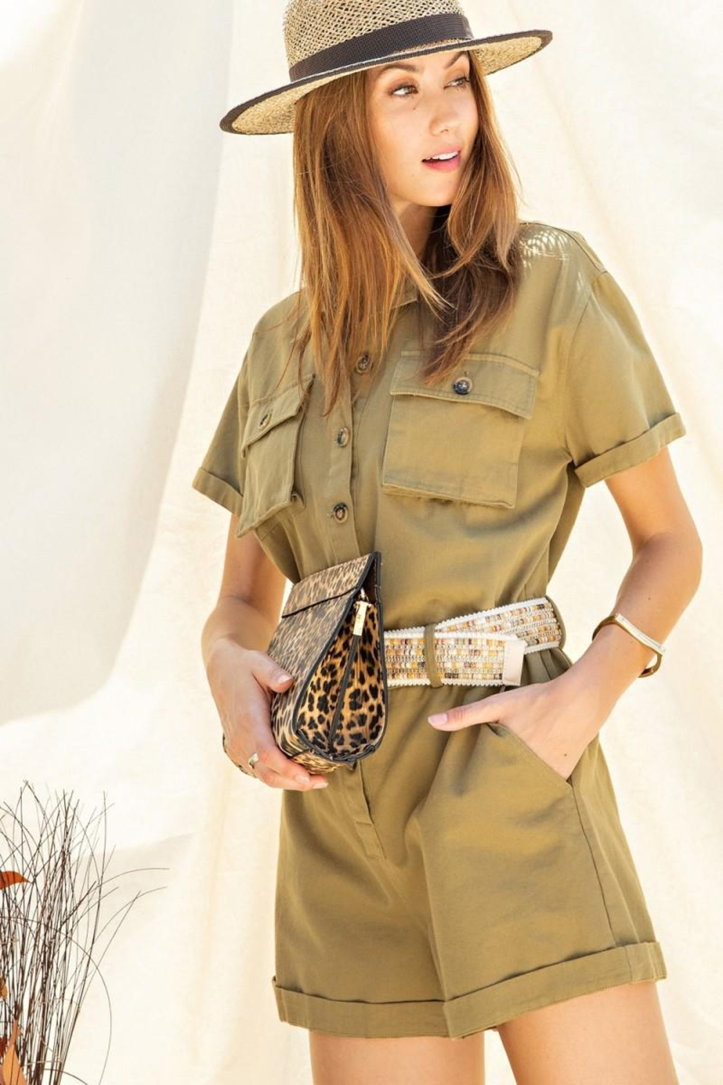 easel Safari Utility Military Cotton Romper Jumpsuit - Front Cropped Image