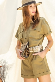 easel Safari Utility Military Cotton Romper Jumpsuit - Front cropped