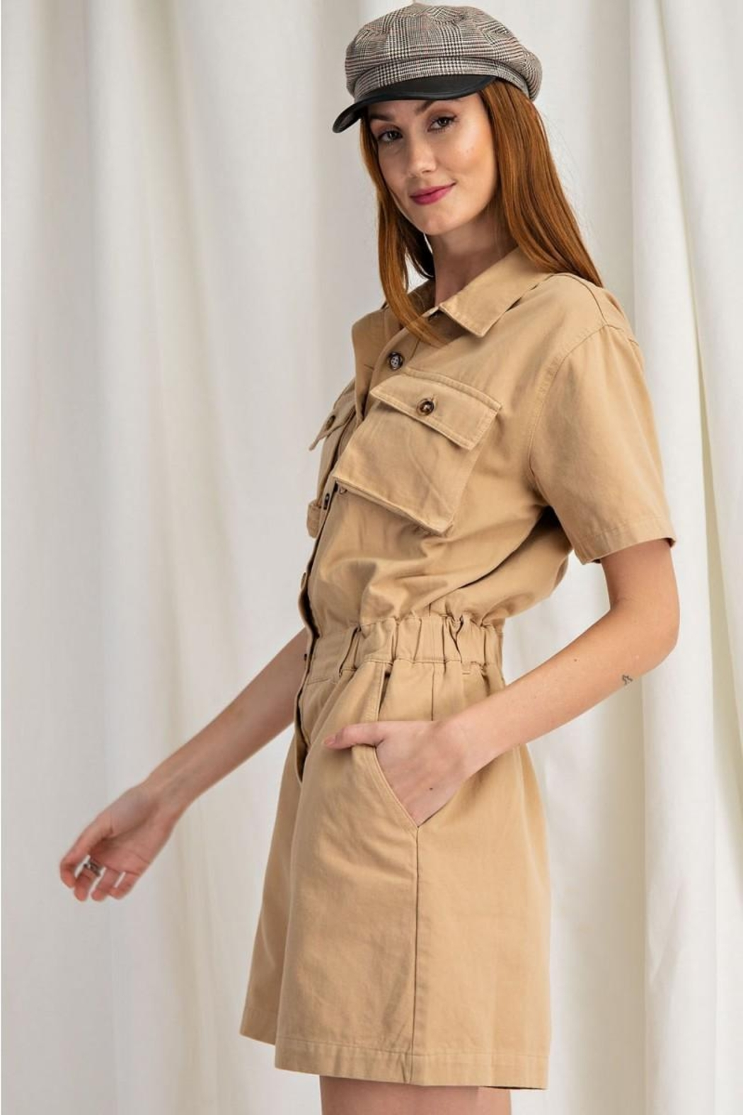 easel Safari Utility Military Cotton Romper Jumpsuit - Back Cropped Image