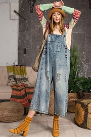 easel Sanforized Washed Denim Distressed Detail Overalls - Product Mini Image