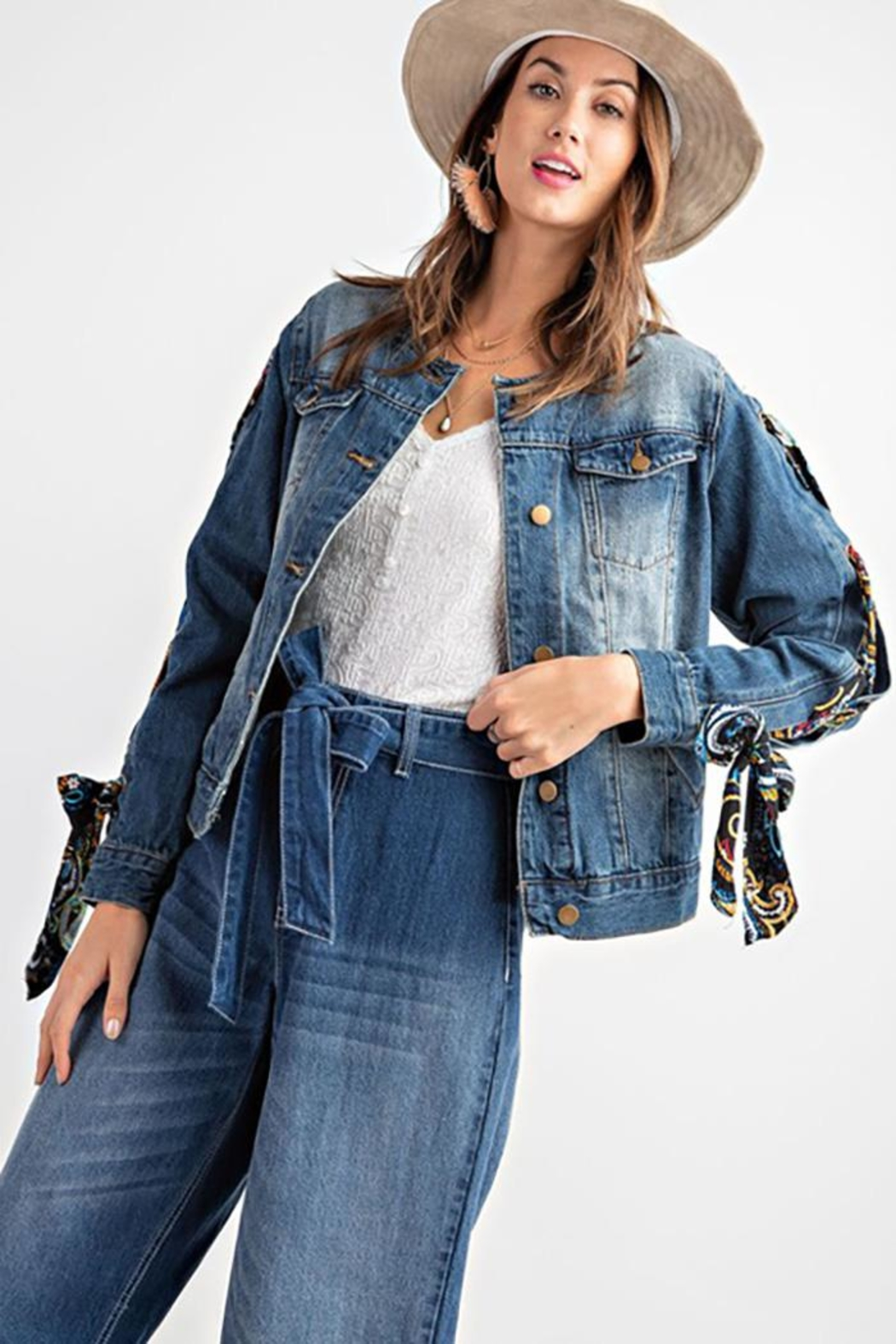 easel Scarf Lace Sleeve Denim Jacket - Front Cropped Image