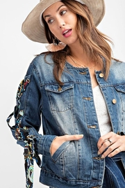 easel Scarf Lace Sleeve Denim Jacket - Side cropped