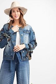 easel Scarf Lace Sleeve Denim Jacket - Other