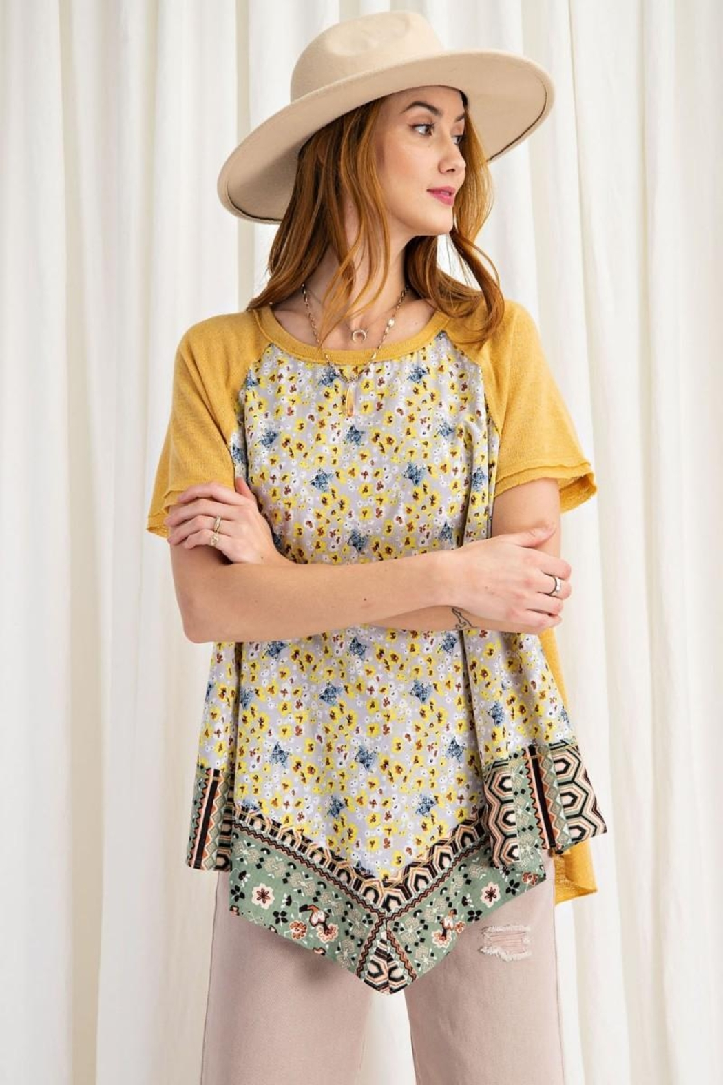 easel Scarf Print & Knit Jersey Mixed Media Flowy Top - Main Image