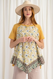 easel Scarf Print & Knit Jersey Mixed Media Flowy Top - Front full body
