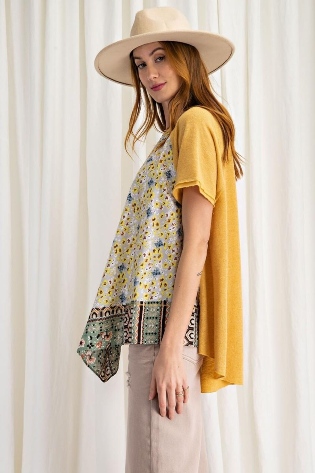 easel Scarf Print & Knit Jersey Mixed Media Flowy Top - Back Cropped Image