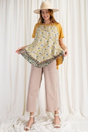 easel Scarf Print & Knit Jersey Mixed Media Flowy Top - Side cropped