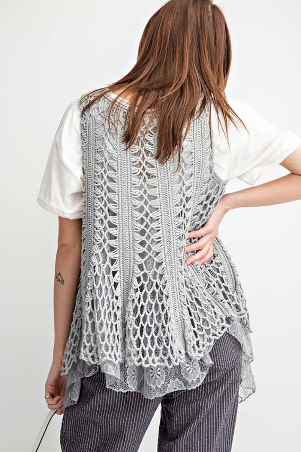 easel Sleeveless Crochet Knitted Lace Layered Vest - Back Cropped Image