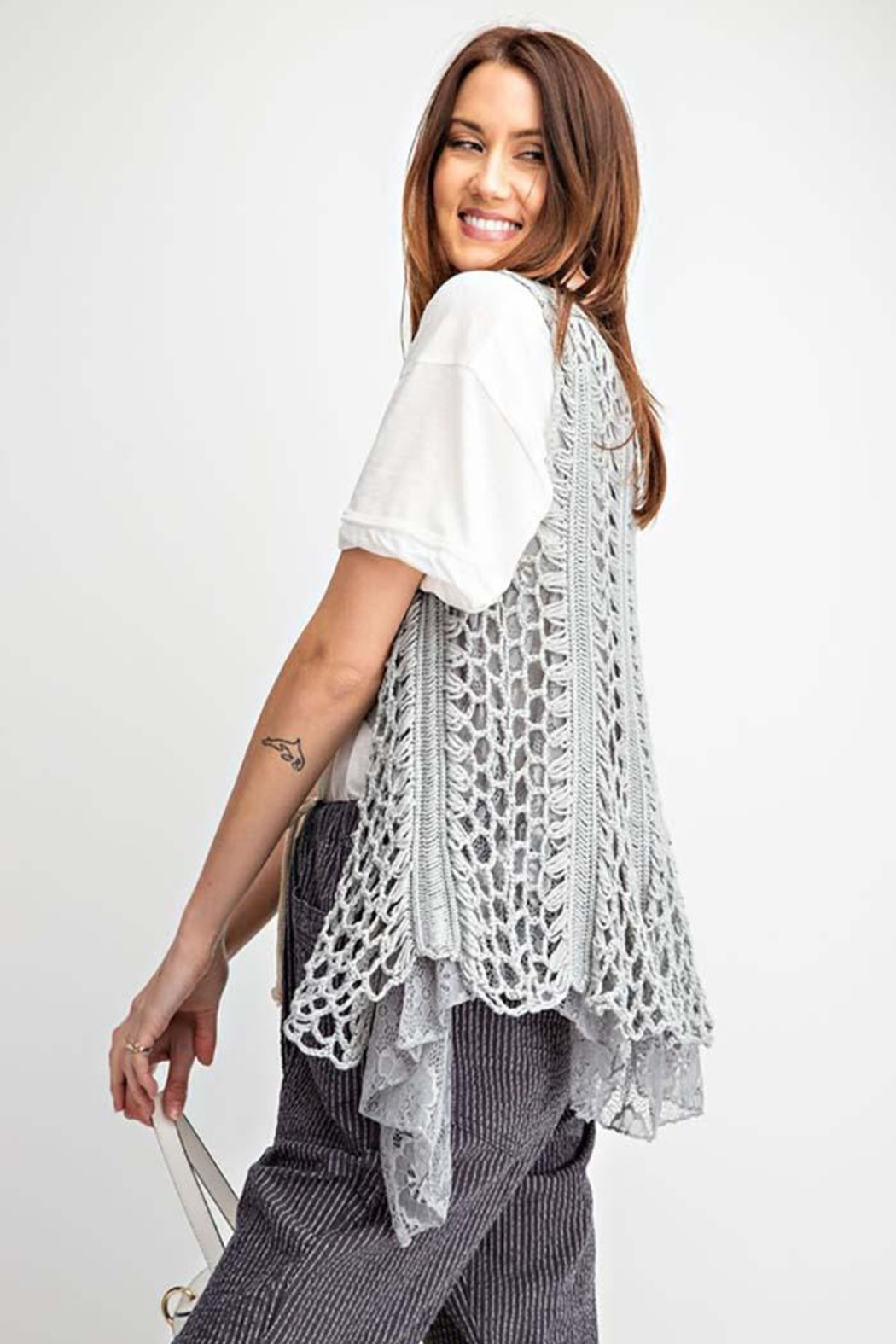 easel Sleeveless Crochet Knitted Lace Layered Vest - Front Full Image