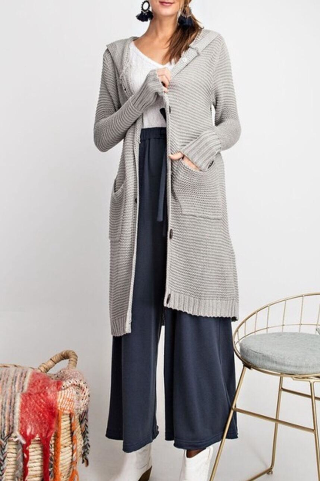 easel Soft Cozy Cardigan - Front Cropped Image