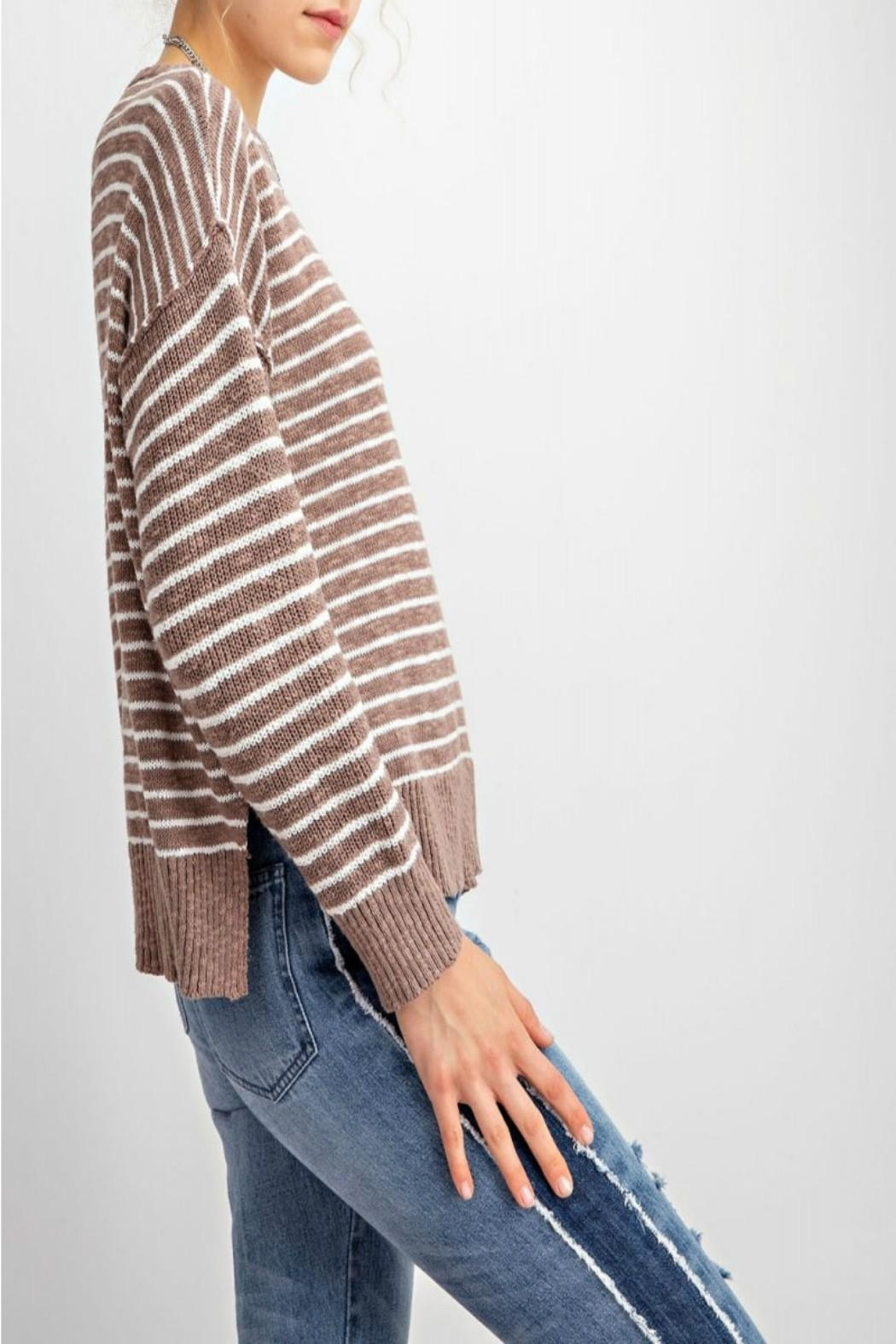 easel Soft Striped Sweater - Side Cropped Image
