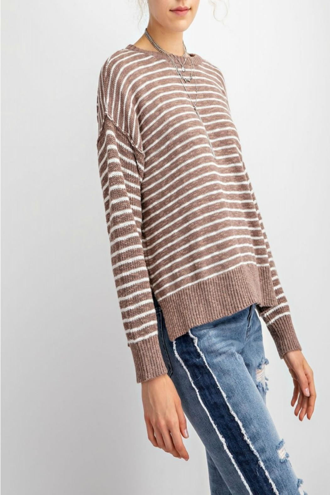 easel Soft Striped Sweater - Back Cropped Image