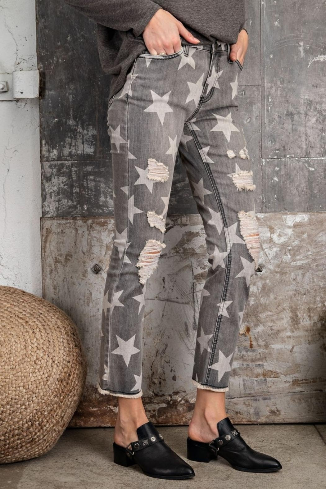 easel Star-Print Distressed-Denim Pants - Back Cropped Image