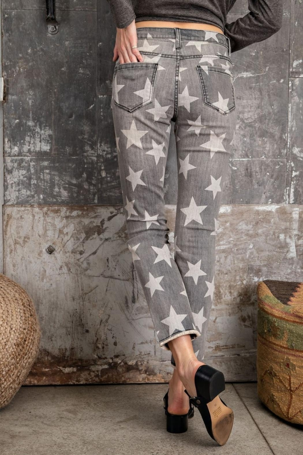 easel Star-Print Distressed-Denim Pants - Front Full Image