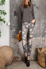 easel Star-Print Distressed-Denim Pants - Other