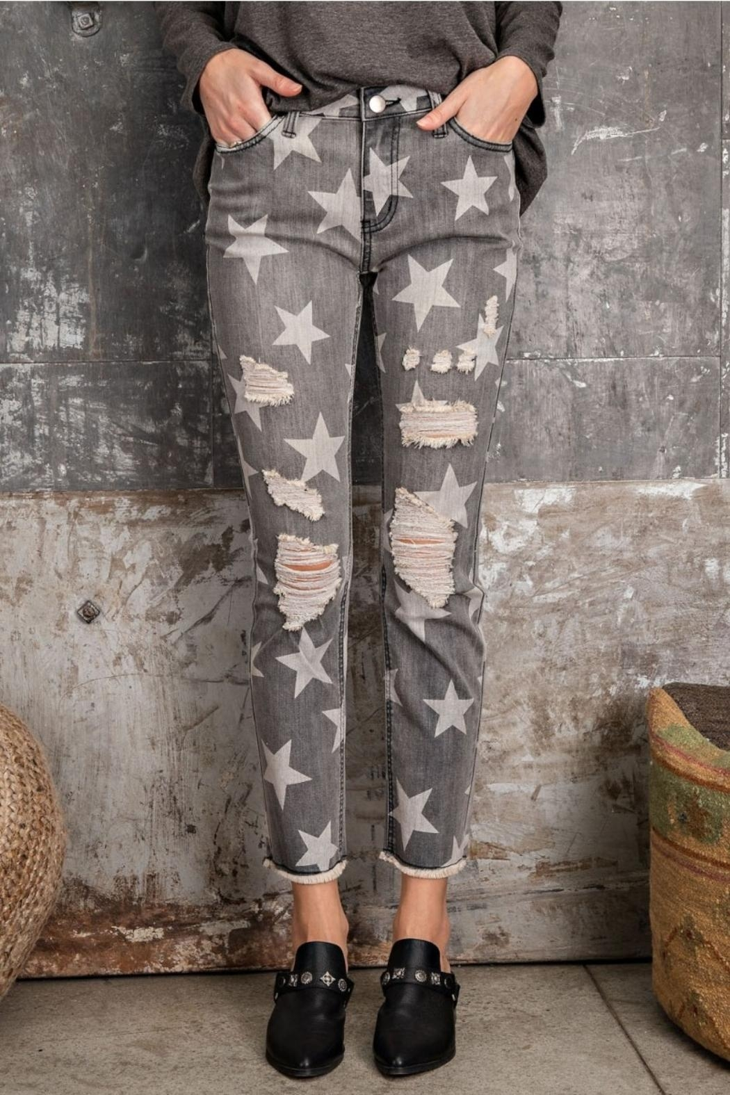 easel Star-Print Distressed-Denim Pants - Main Image