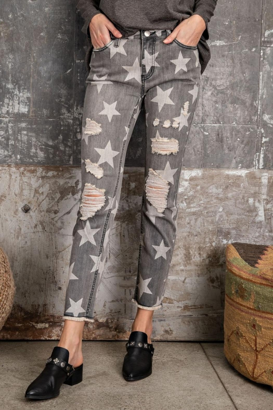easel Star-Print Distressed-Denim Pants - Side Cropped Image