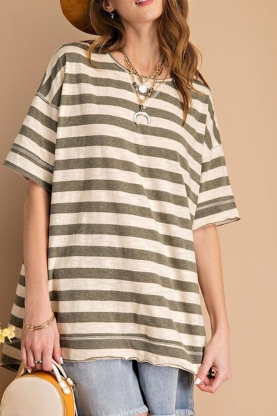easel Striped Boxy Top - Main Image