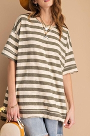 easel Striped Boxy Top - Front cropped