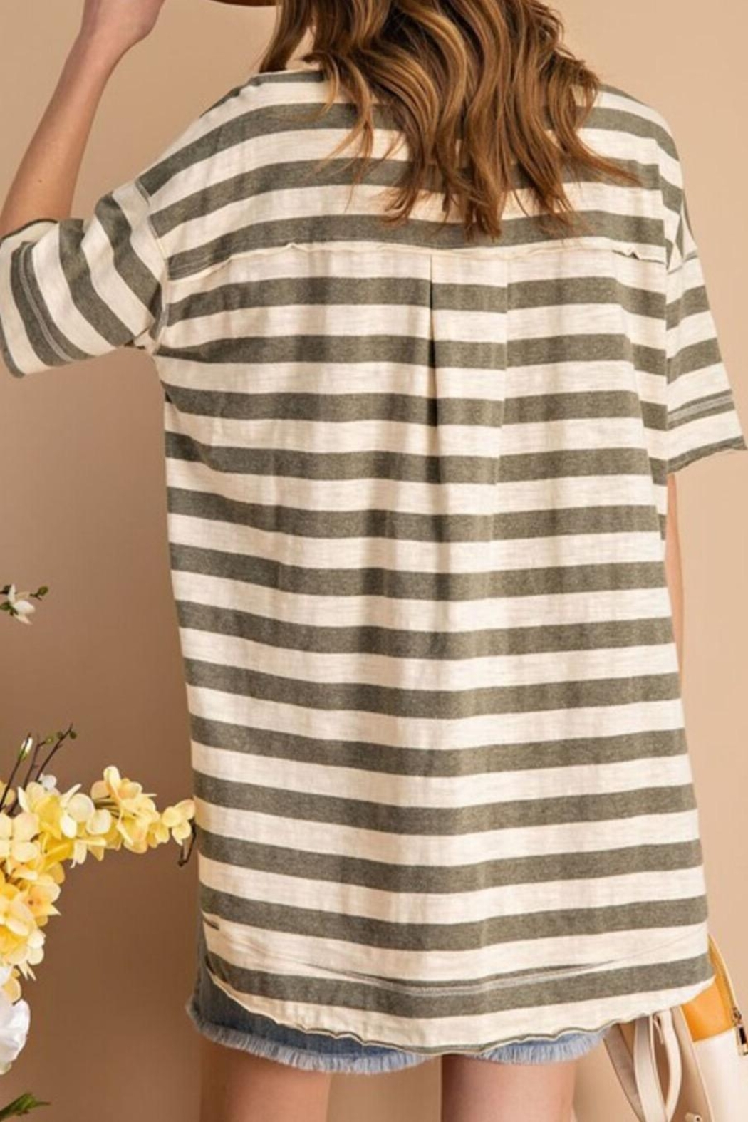 easel Striped Boxy Top - Front Full Image